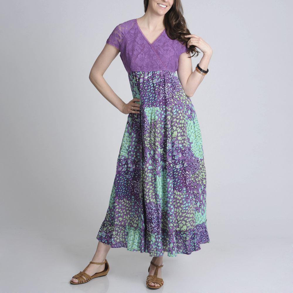 La cera womenus purple lace and floral twotone maxi dress by la