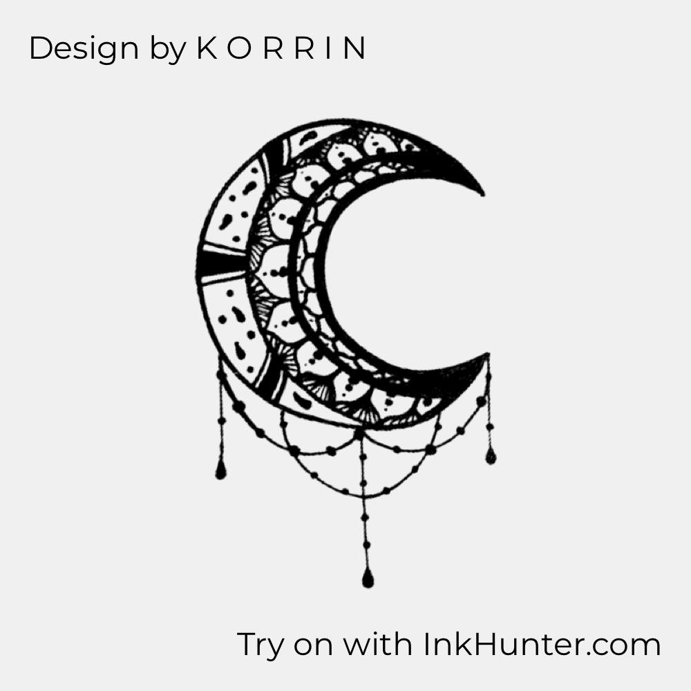 Design By K O R R I N Inkhunter Half Moon Tattoo Moon Tattoo Design