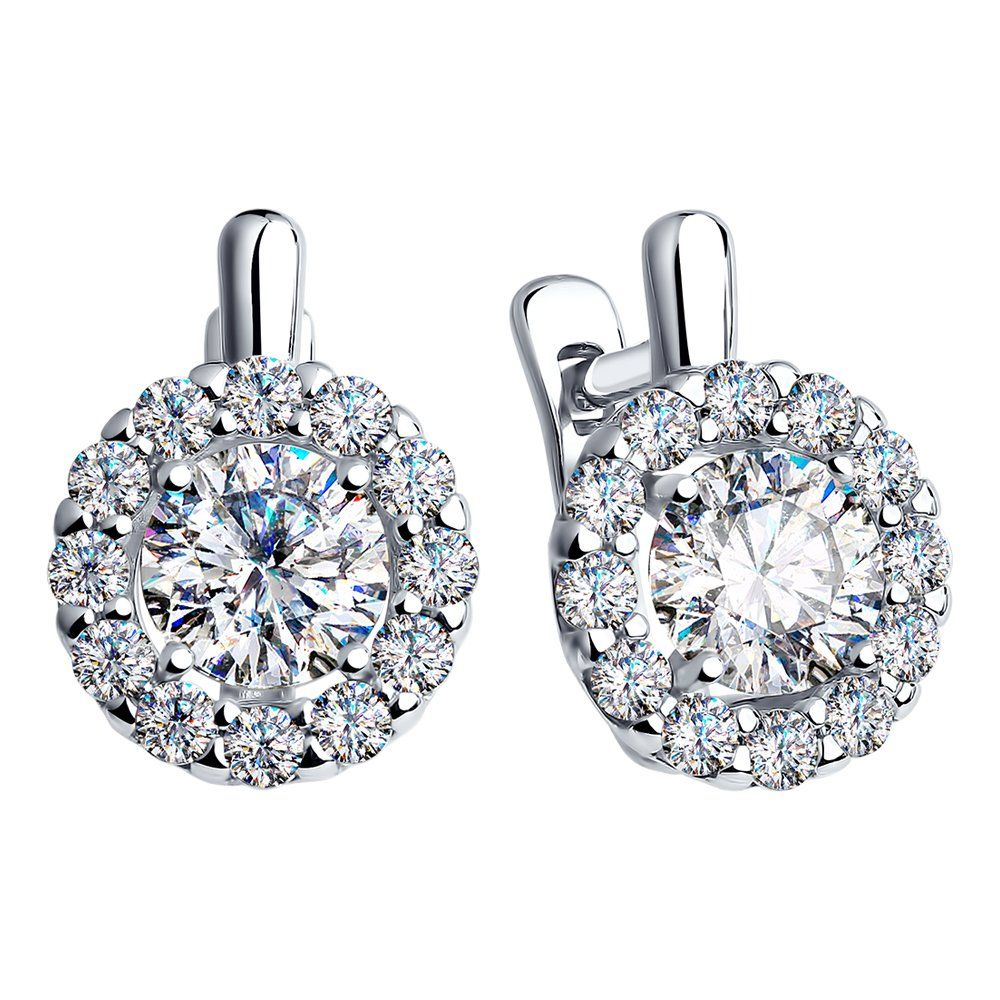 Sterling Silver Halo Earrings For Women Rhodium Plated W Cubic Zirconia Swarovski Crystals 18 Cttw Want Additional Info Halo Earrings Silver Jewelry Design
