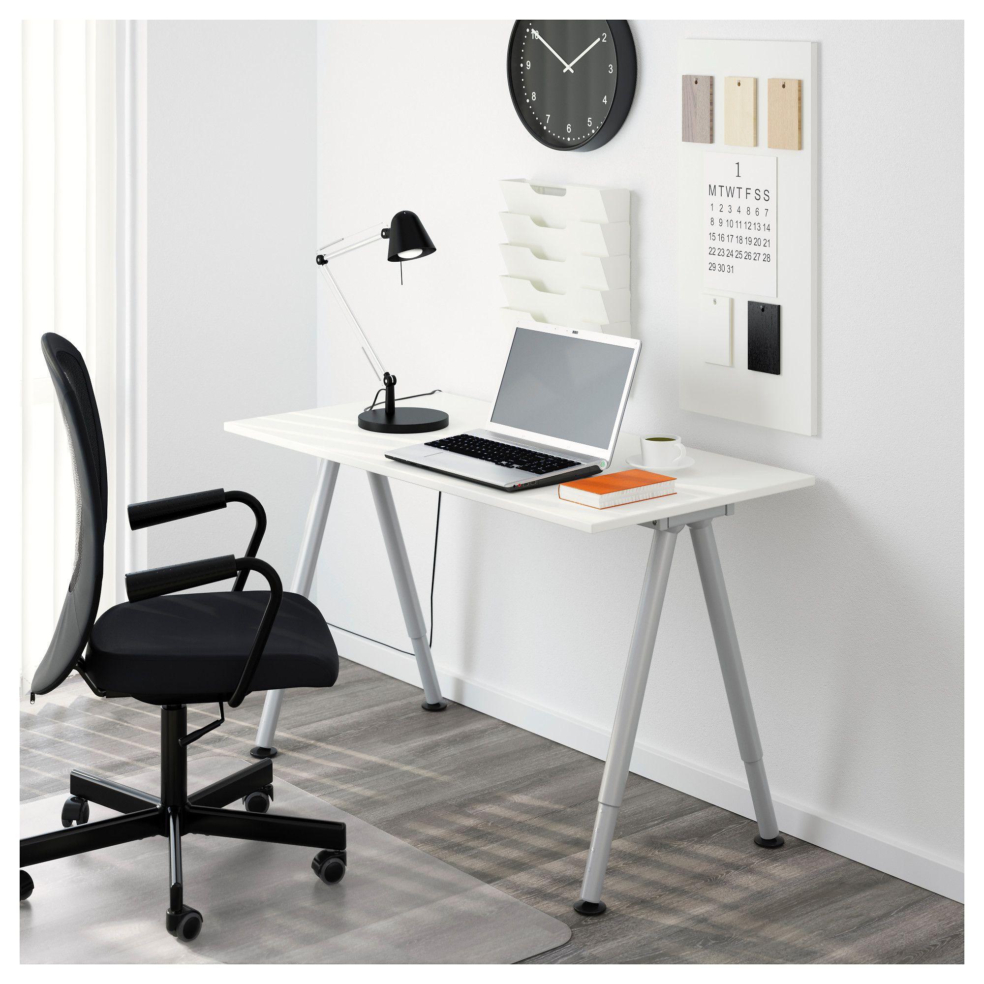 Thyge Desk White Silver Color Ikea Ikea Bekant Home Office Furniture Ikea Bekant Desk