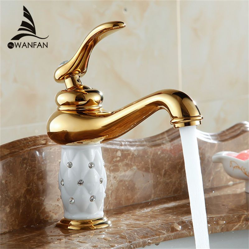 Brass With Diamond Crystal Body Tap New Luxury Single Handle Hot