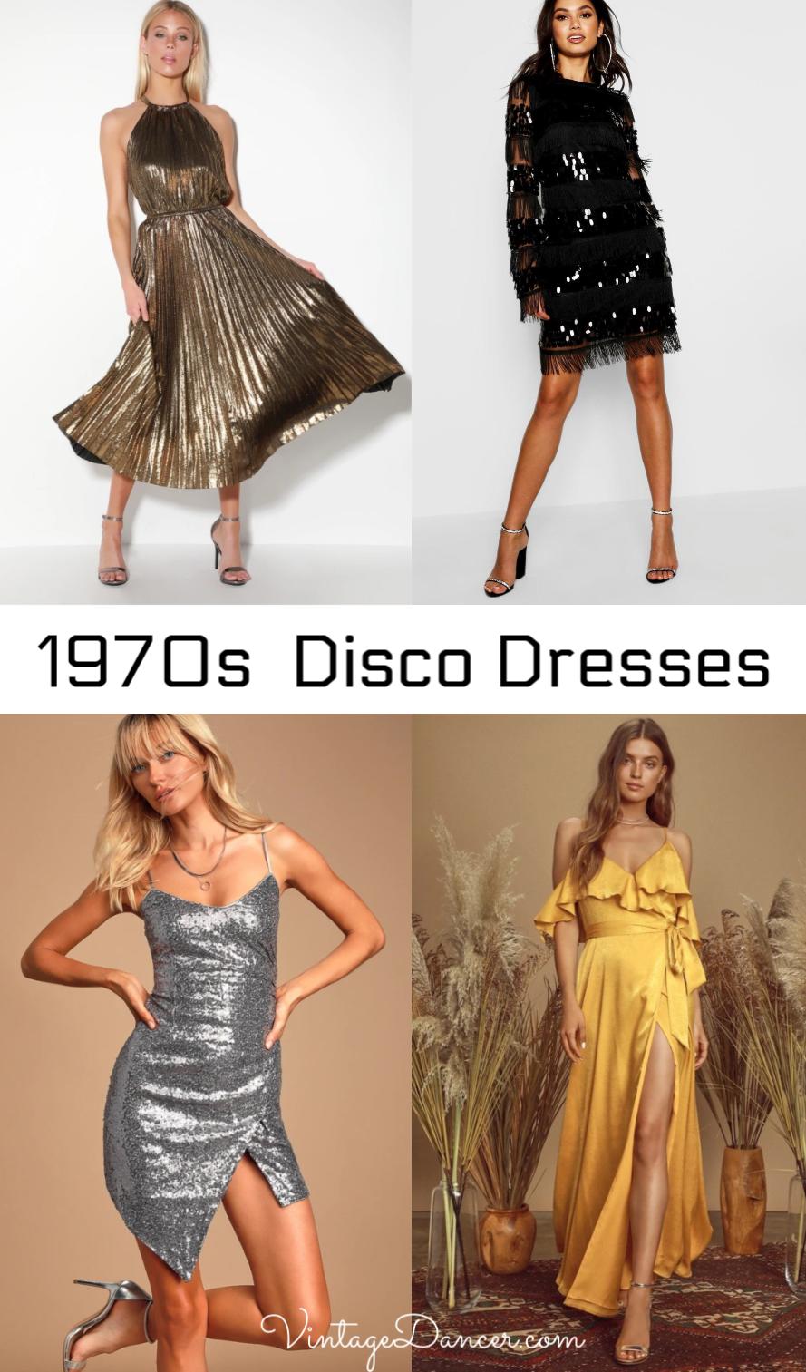 70s Disco Dresses 1970s Disco Dress At Vintagedancer Com Short Long Wrap Gold Silver Sequins Black Red And Mo Disco Dress 70s Disco Dress Disco Fashion [ 1513 x 889 Pixel ]