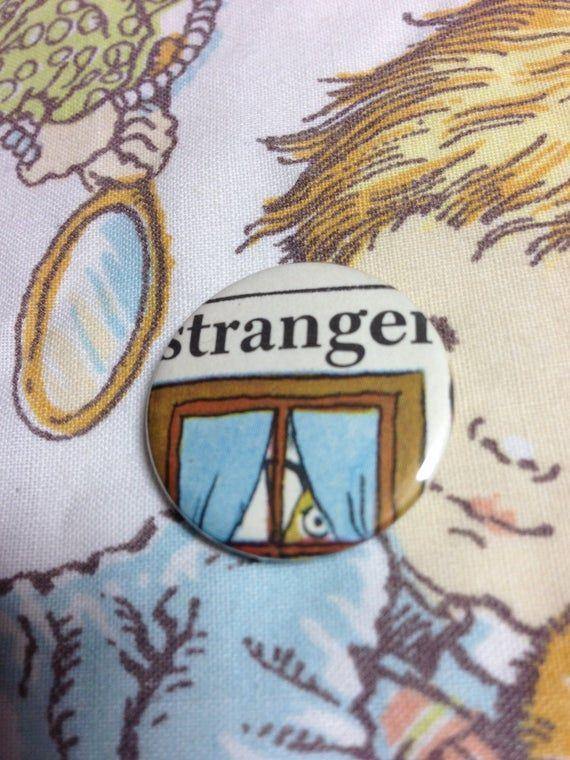 Richard Scarry Stranger Danger crazy Dwarf vintage illustration pin badge set x 3 cut from original #strangerdanger
