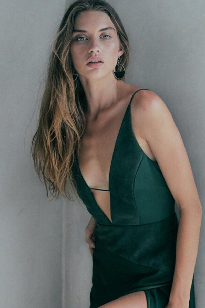 Deep v neck cami split dress green dresses pinterest formal