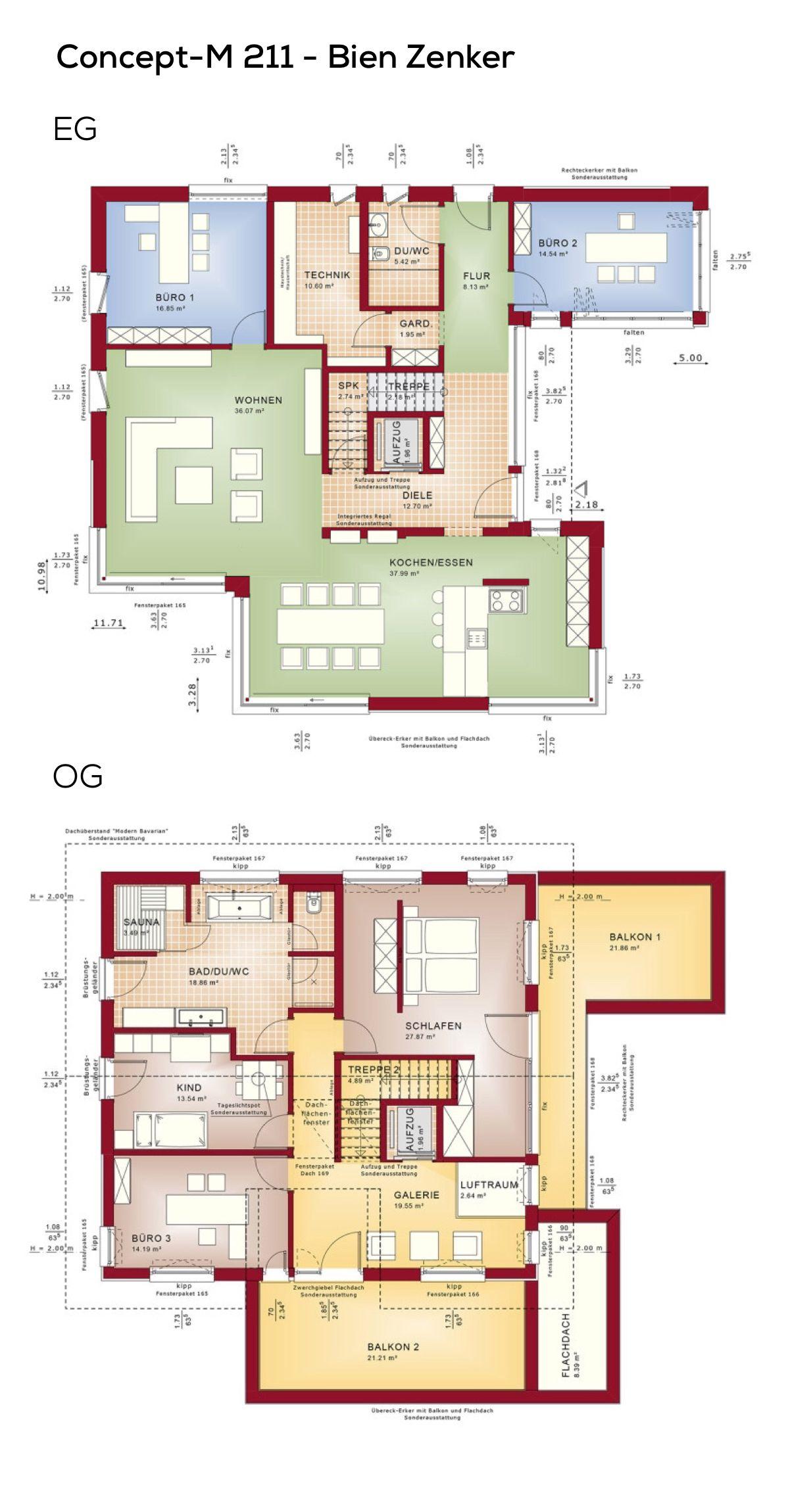 Grundriss Einfamilienhaus modern mit Satteldach