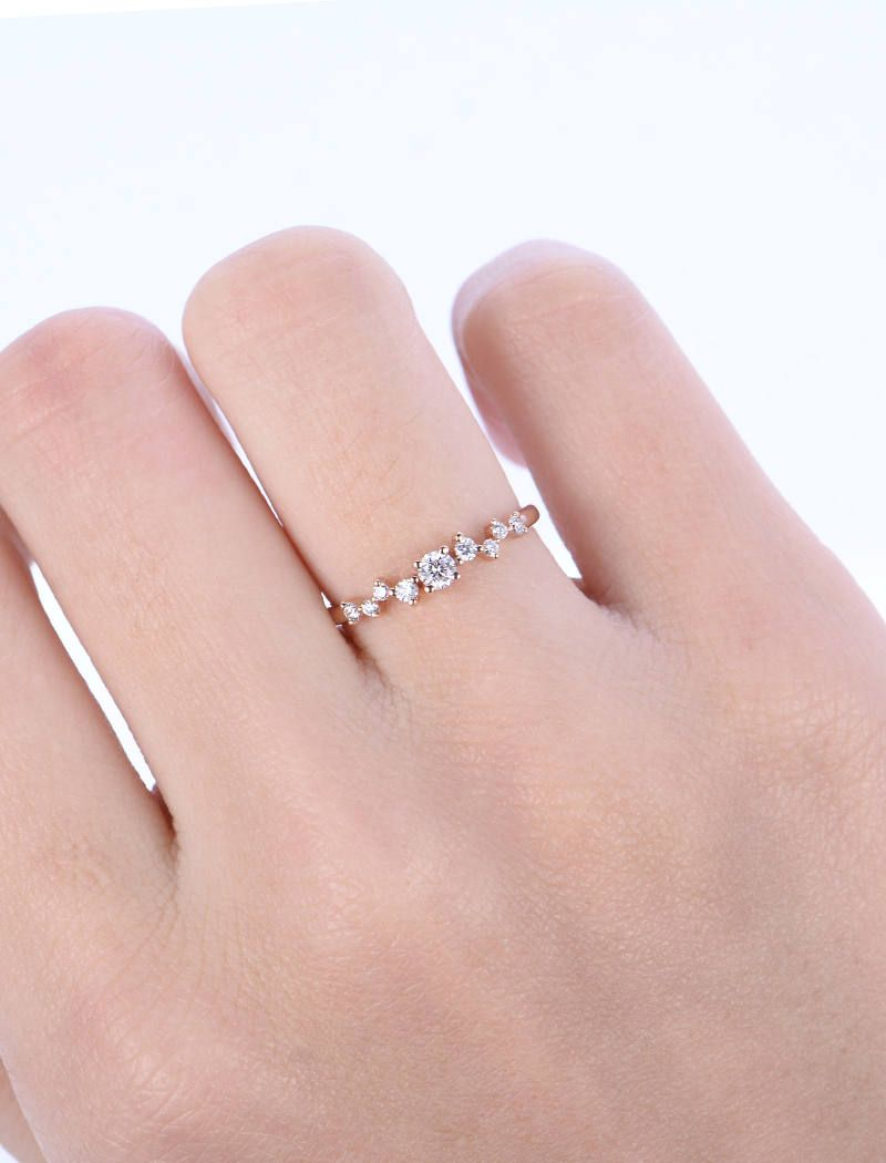 Diamond Cluster ring Twig engagement Ring Rose Gold Mini Floral ...