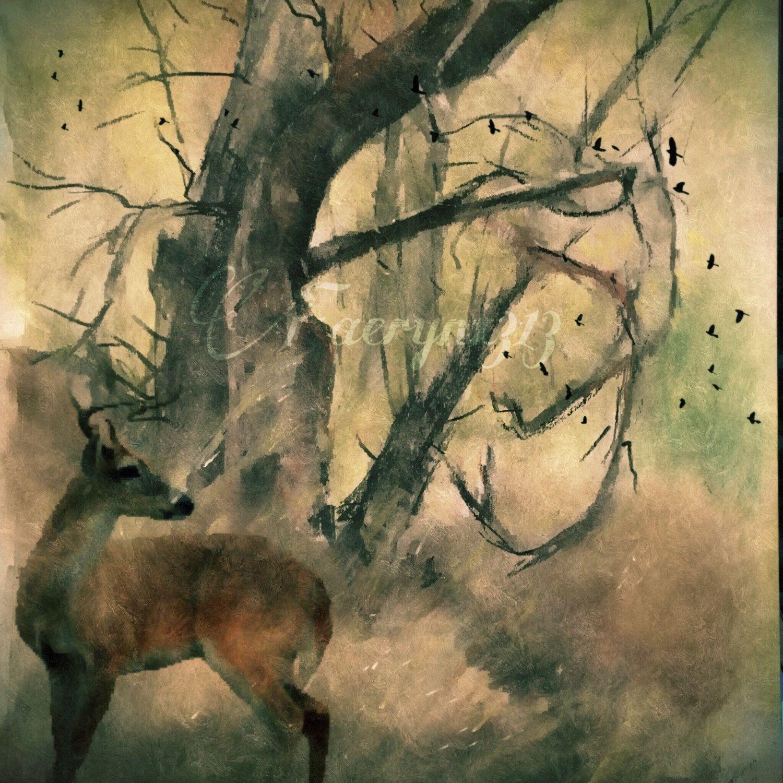 Autumnu0027s Story Wilderness Forest Woodland Woods Deer Doe Buck Faun Shower  Curtain Art , Canvas Art
