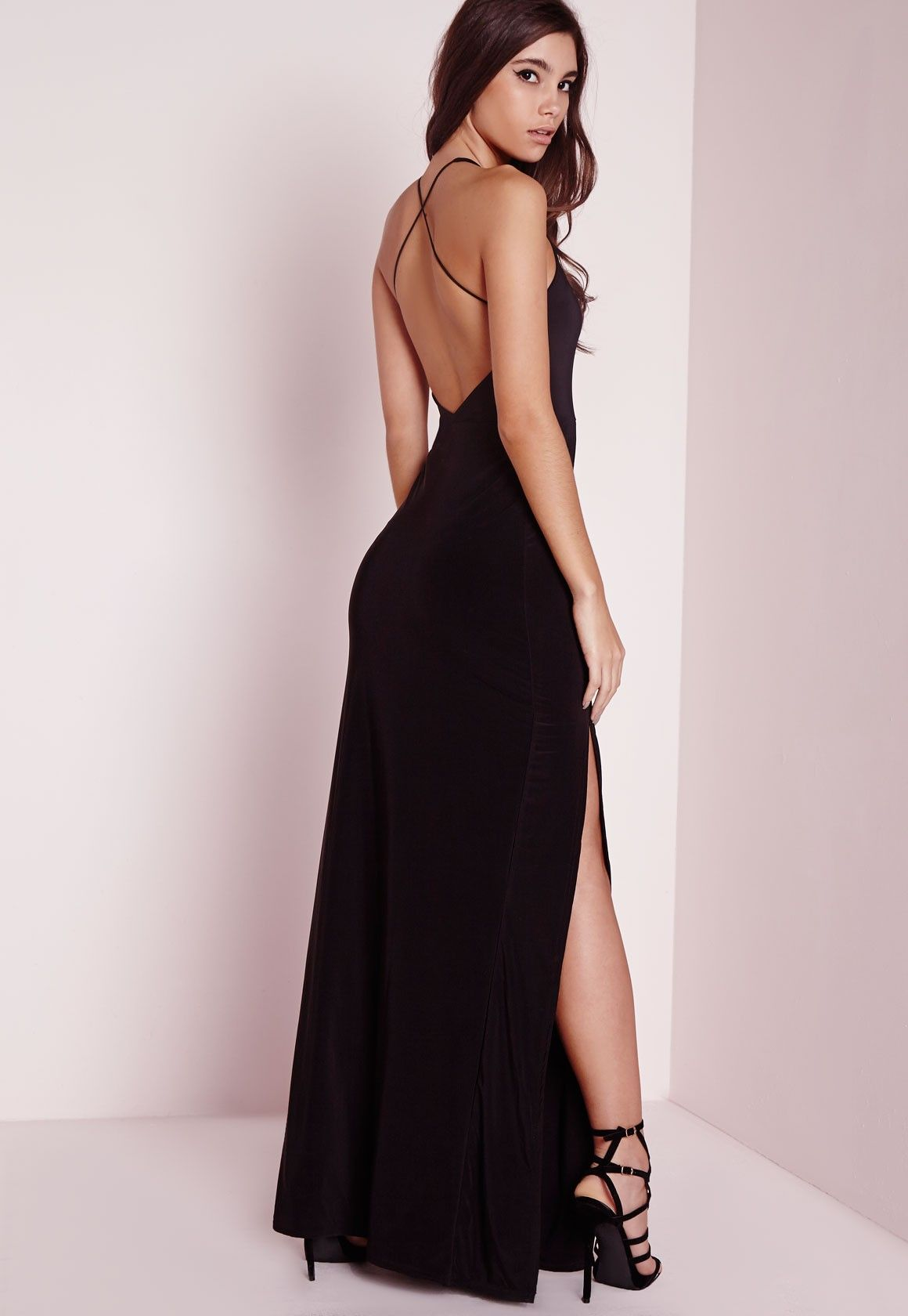 9fadb88456c slinky side split maxi dress black | Fashion | Dresses, Strappy ...
