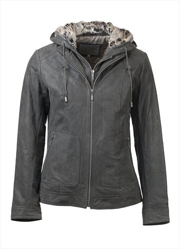 Charcoal Hooded Leather Jacket