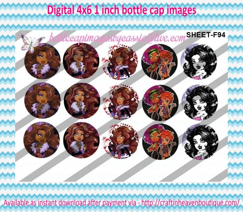 """1"""" Bottle Caps (4X6) F94 Monster high  CARTOONS/KIDS BOTTLE CAP IMAGES #cartoons #inspired #kids #bottlecap #BCI #shrinkydinkimages #bowcenters #hairbows #bowmaking #ironon #printables #printyourself #digitaltransfer #doityourself #transfer #ribbongraphics #ribbon #shirtprint #tshirt #digitalart #diy #digital #graphicdesign please purchase via link  http://craftinheavenboutique.com/index.php?main_page=index&cPath=323_533_42_54"""