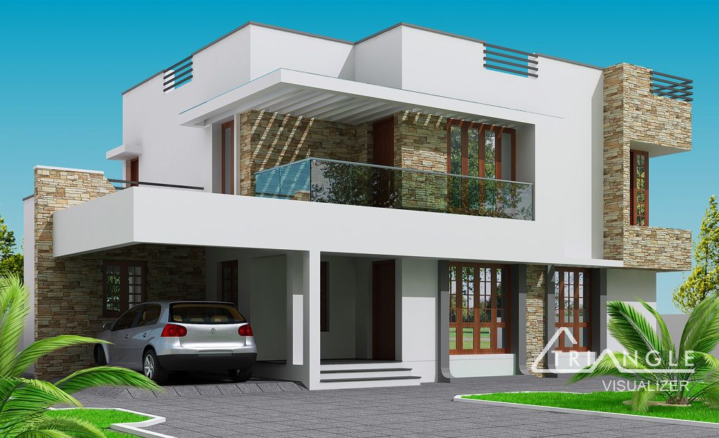 House ideas home elevation design ideas indian home for Modern villa plans and elevations