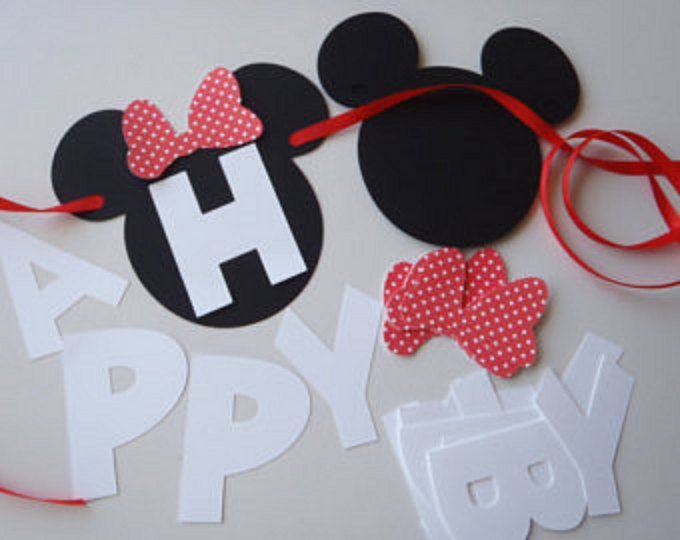 Diy mickey birthday banner kit with fancy font and optional custom diy minnie mouse banner with red or pink bow and custom name option by feistyfarmerswife etsy solutioingenieria Image collections
