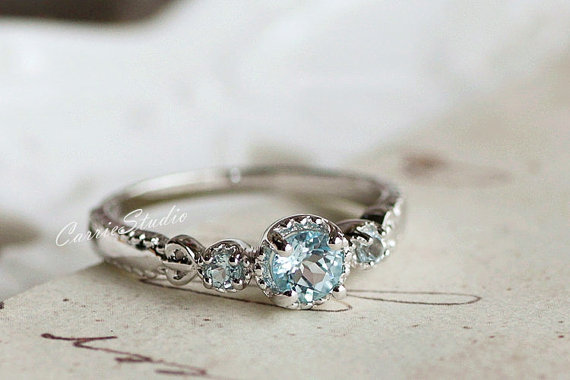 Antique Delicate Aquamarine Ring Aquamarine Engagement Ring Wedding