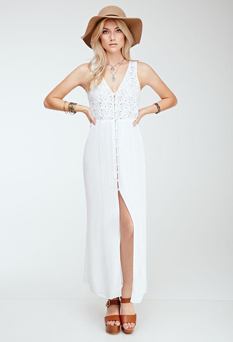 Forever Crochetpaneled Maxi Dress in White Lyst Maxi Dresses