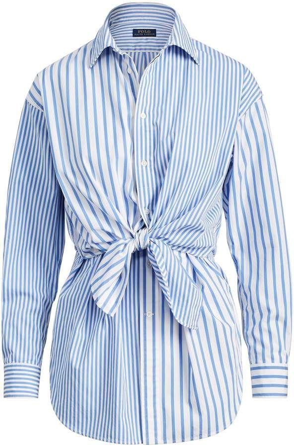 Ralph Lauren Tie-Front Striped Cotton Shirt   Cotton shirt, Polo ...