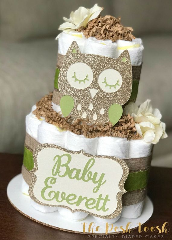 3 Tier Diaper Cake Owl Green Brown Baby Shower Gift Centerpiece