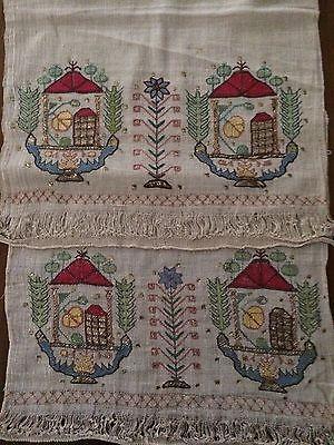 19th C Antique Ottoman Turkish Hand Embroidery On Linen Yalik