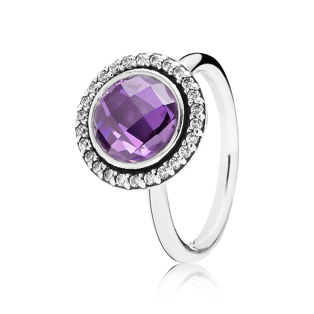 ff2c6e93b The halo of sparkling stones surrounding the single large stone in purple  provides the cocktail ring with a classic and lavish look. #PANDORAring ...