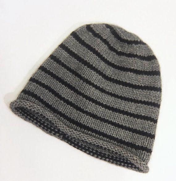 6433114b07987 Mens striped cashmere hat   Gray and Black   Unisex hat   Ski hat ...