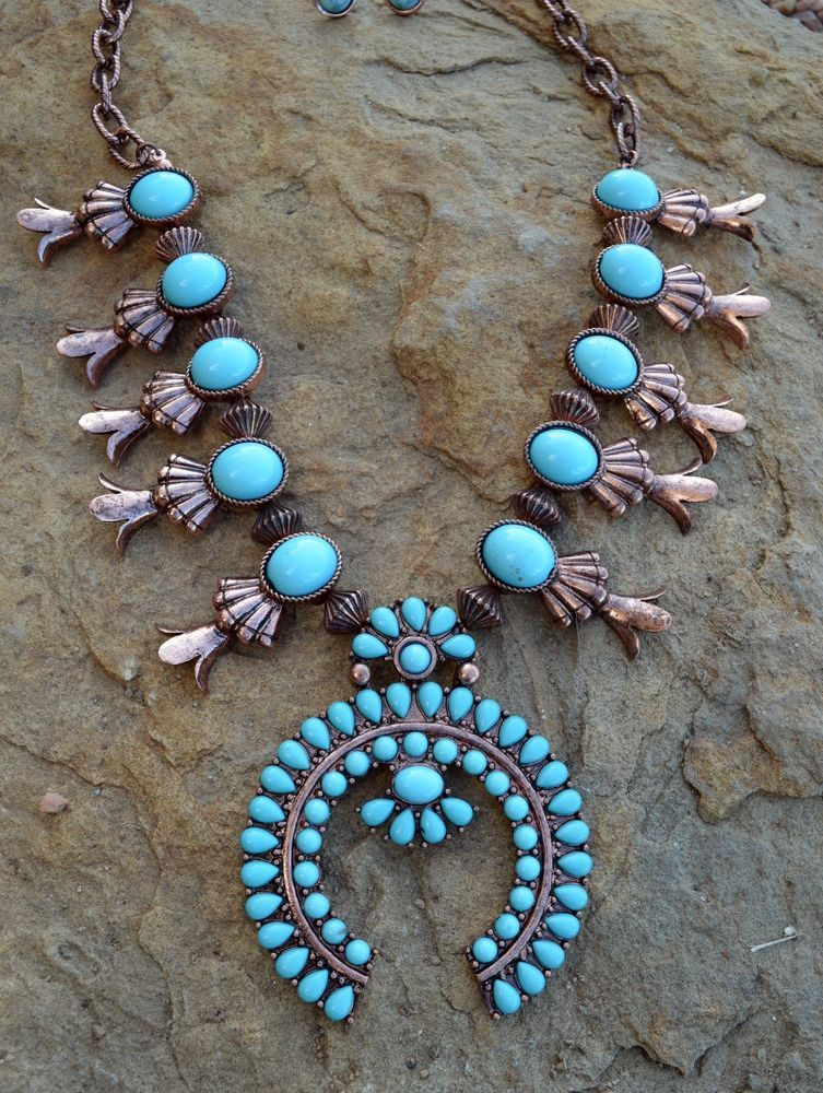 COWGIRL Copper Southwest Turquoise SQUASH BLOSSOM Western Gypsy NECKLACE SET #Unbranded