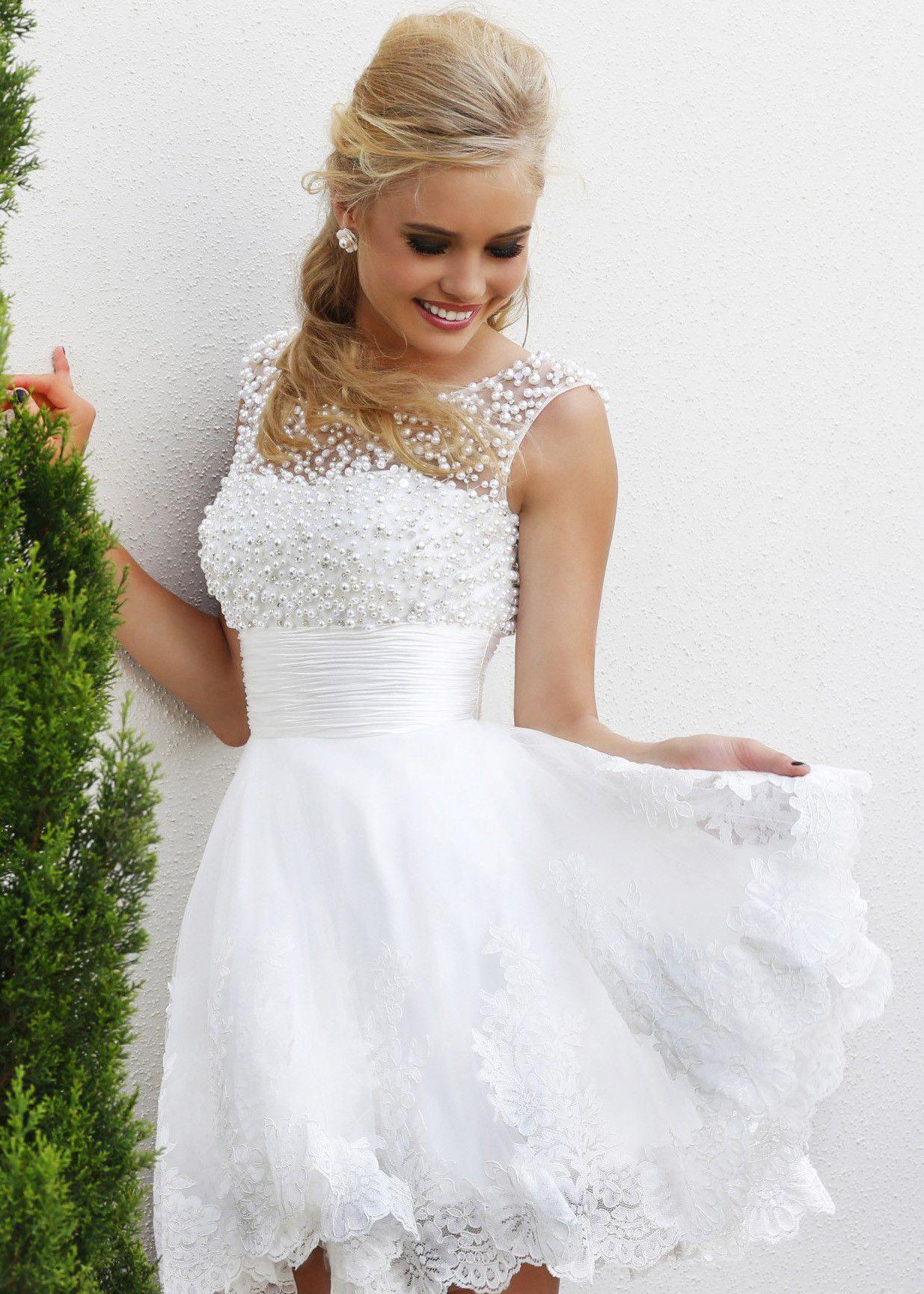Short white lace cheap prom dresses miss m pinterest