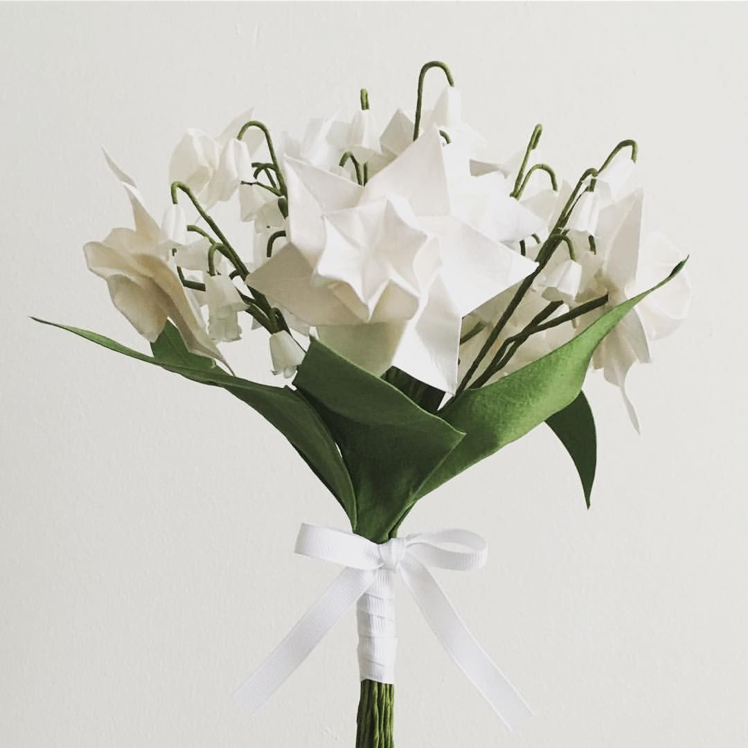Daffodil And Lily Of The Valley Origami Wedding Flowers Textile