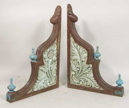 PAIR ANGLO INDIAN PAINTED PORCH BRACKETS