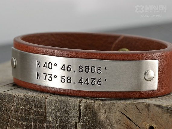 Personalized Dad Leather Bracelet - Latitude Longitude GPS Coordinates Bracelet  - Mens Personalized Jewelry - Hand Crafted in USA