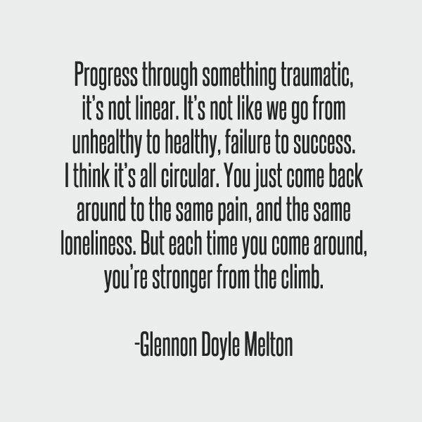 Glennon Doyle Melton Quotes Progress Through Something Traumatic It's Not Linearit's Not Like .