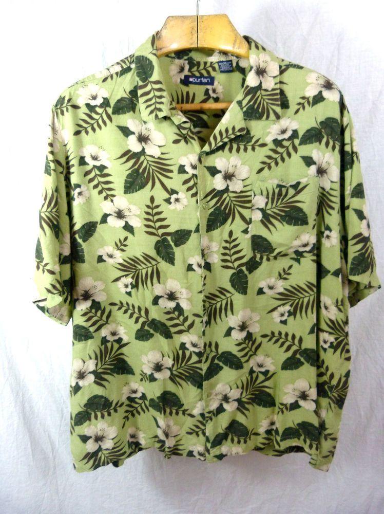 Mens 3xl Xxxl Green Aloha Hawaiian Shirt Puritan Rayon