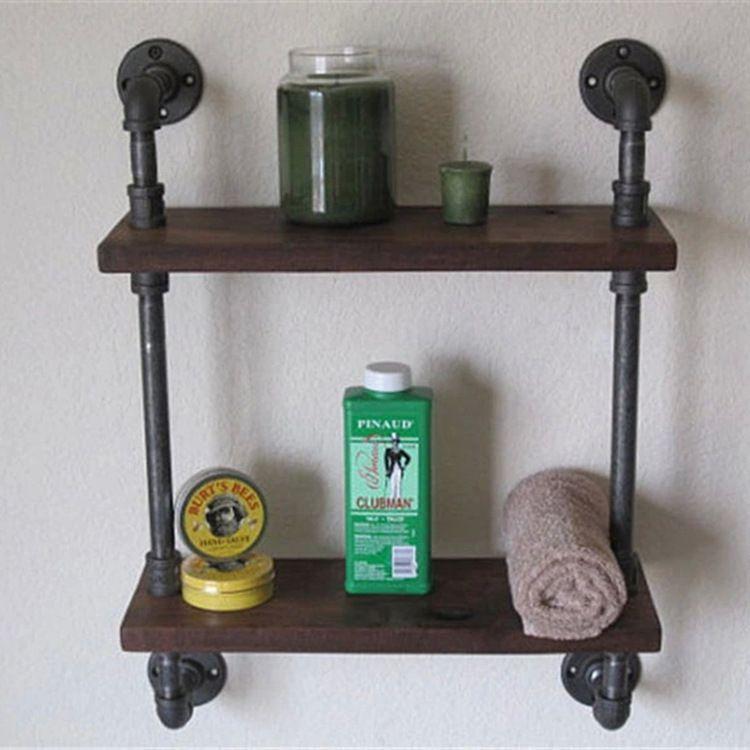 Industrial Vintage Wrought Iron Pipe Double Tier Metal Bathroom ...