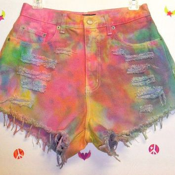 Vintage High Waisted TIE  Dyed  Denim Shorts ----Waist 28 inches