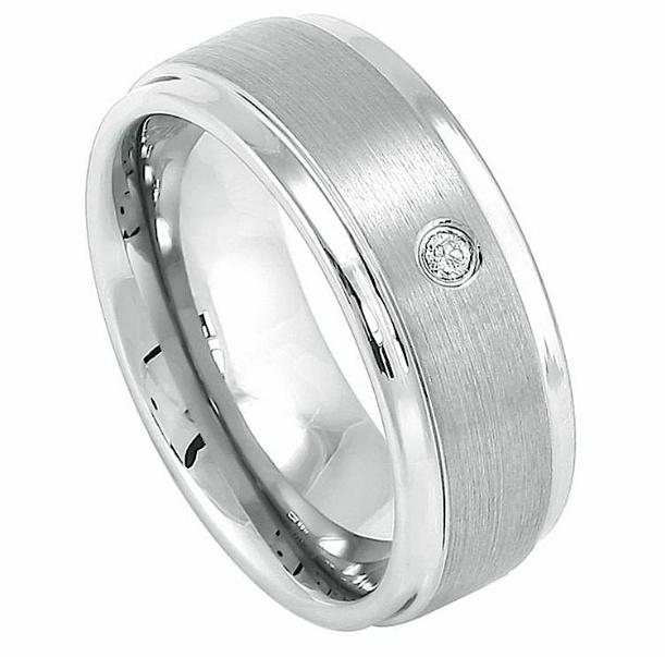 139 Cobalt Ring, Wedding Band with White Diamond 8mm www