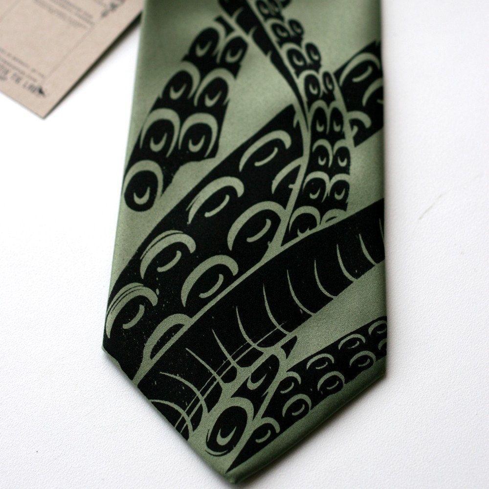a9204dd0ba47 A graphic tentacle tie. Sucker necktie. Octopus Hand silkscreened tentacle  tie. (Sage green). $30.00, via Etsy.