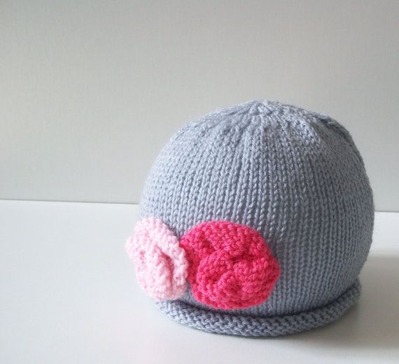 Knit baby hat  Newborn baby girl hat by TheMoonlightShadow on Etsy, $16.00
