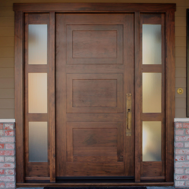 Custom Knotty Walnut Entry Door With 2 Sidelights Craftsman Front Doors Solid Wood Doors Exterior Contemporary Front Doors