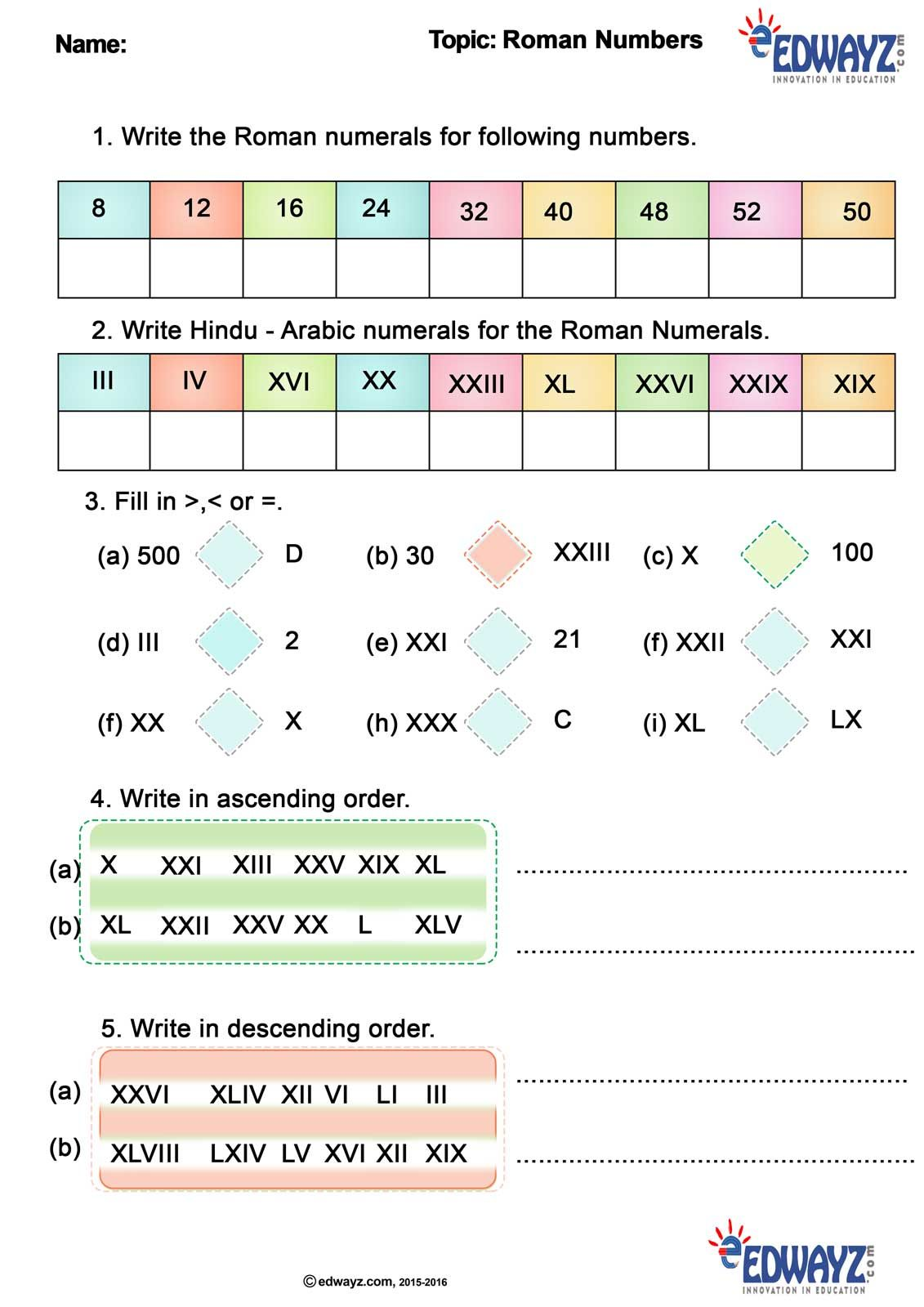 small resolution of RomanNumbers #Math #education #funlearning #edwayz #freepritable worksheets  #class4Math #int…   Math work