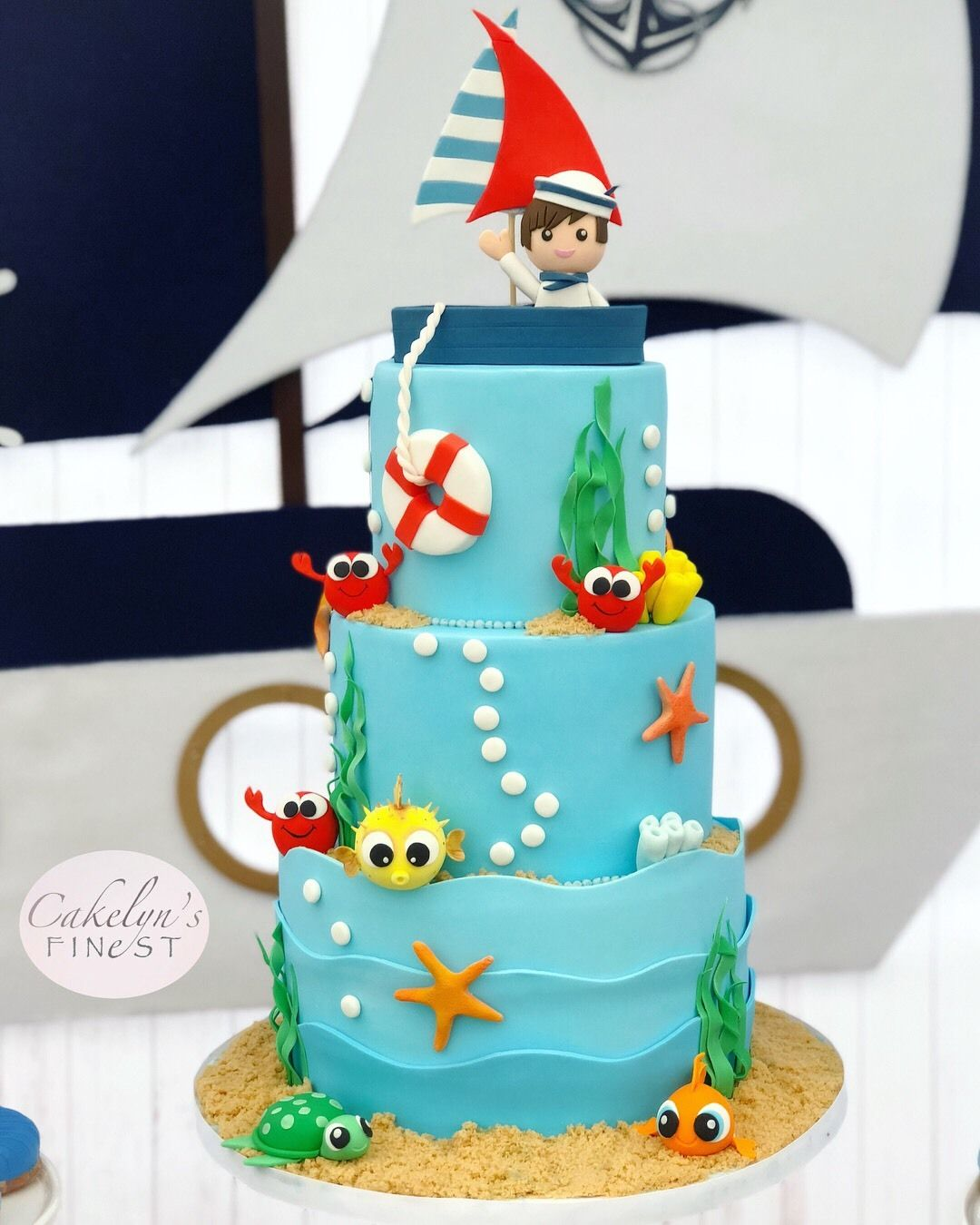 Nautical Under The Sea Birthday Cake Made With Satin Ice Cakelyn S Finest Nautical Birthday Cakes Boy Birthday Cake Sea Birthday Party