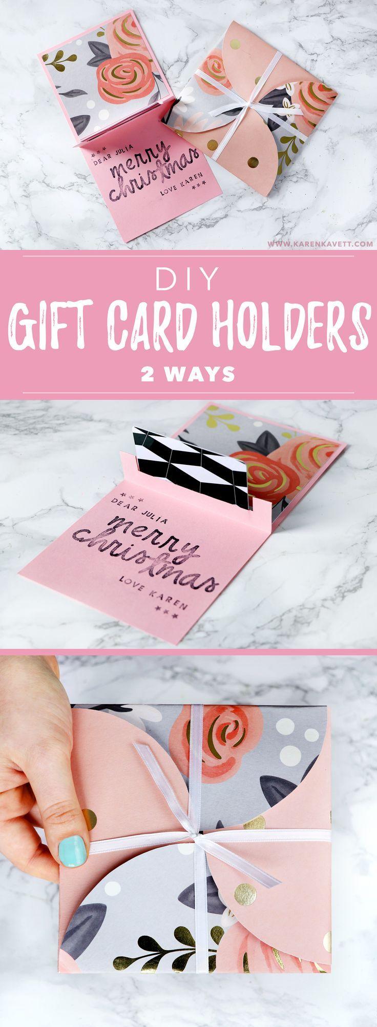 2 Easy DIY Gift Card Holders For Christmas Or Birthday Gifts! |  /karenkavett/