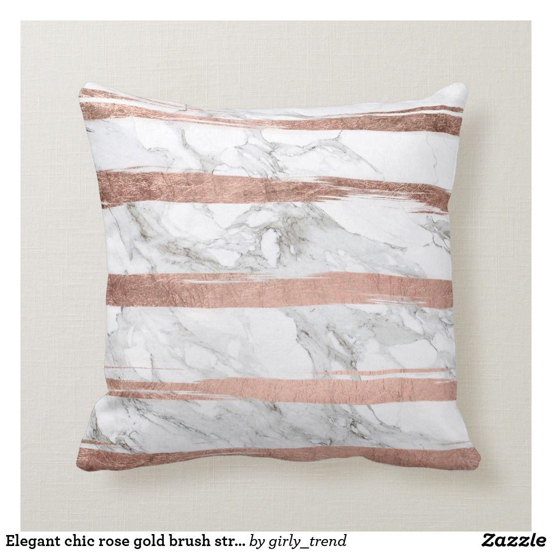 Elegant Chic Rose Gold Brush Stripes White Marble Throw Pillow Zazzle Com Gold Bedroom Decor Rose Gold Brushes Throw Pillows