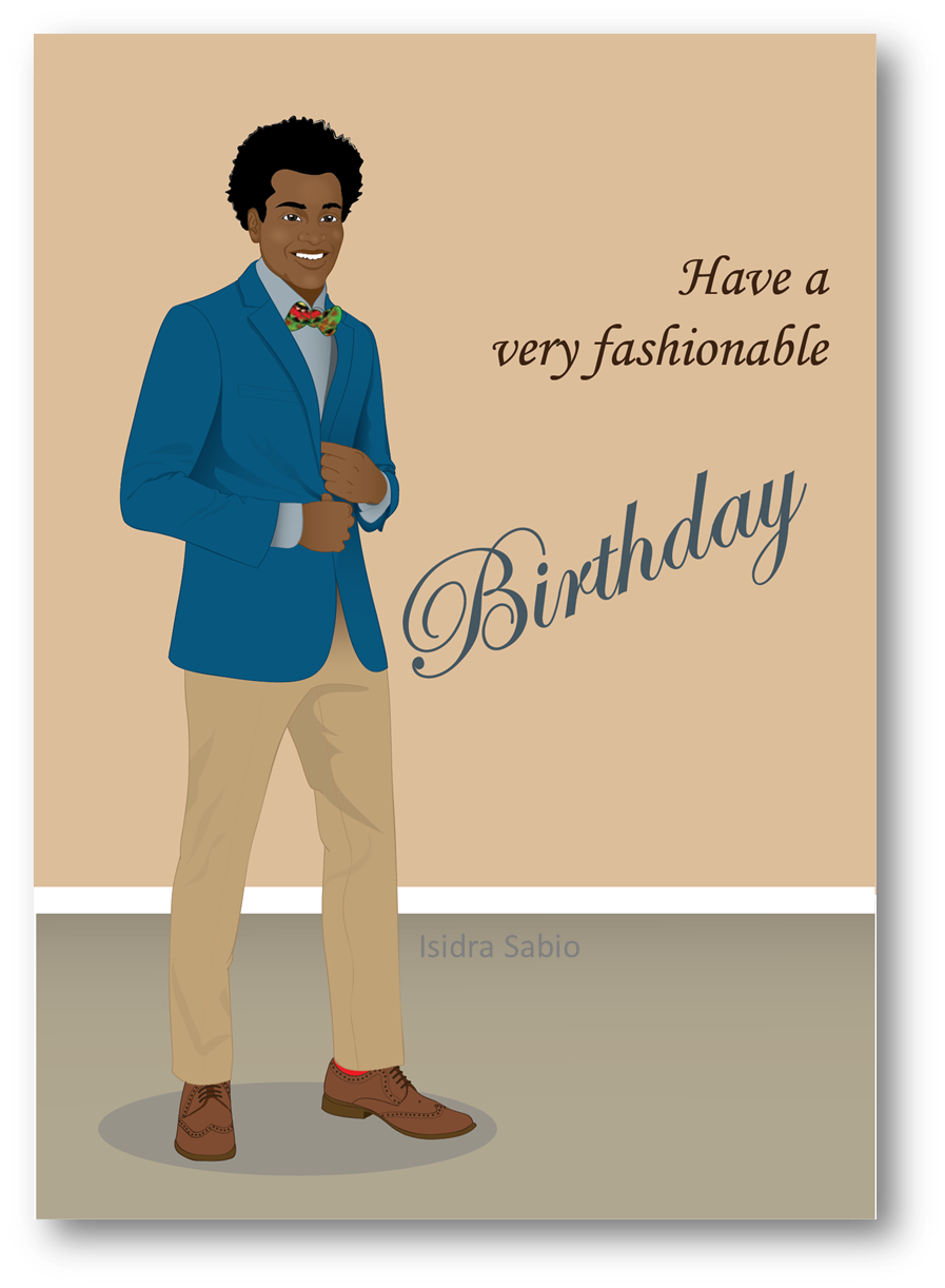 COMING SOON This Afrocentric Birthday Card For Men Shows A Very Handsome And Young Black African American Man Wearing Navy Blue Jacketlight Shirt