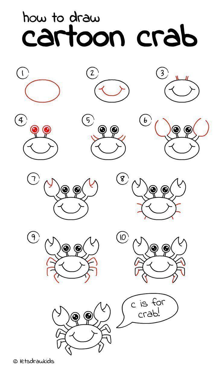 ideen fürs zeichnen  wie zeichne krabben einfaches