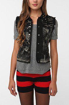 black and gray denim vest