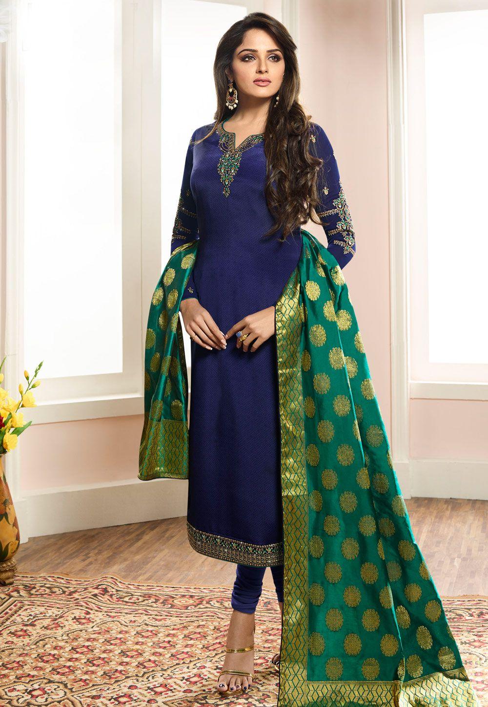 e2b223a611 Buy Blue Crepe Churidar Salwar Kameez 169545 online at lowest price from  huge collection of salwar