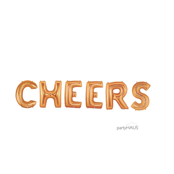 Cheers Balloons Copper Gold 14 Or 40 Balloon Banner Garland Foil