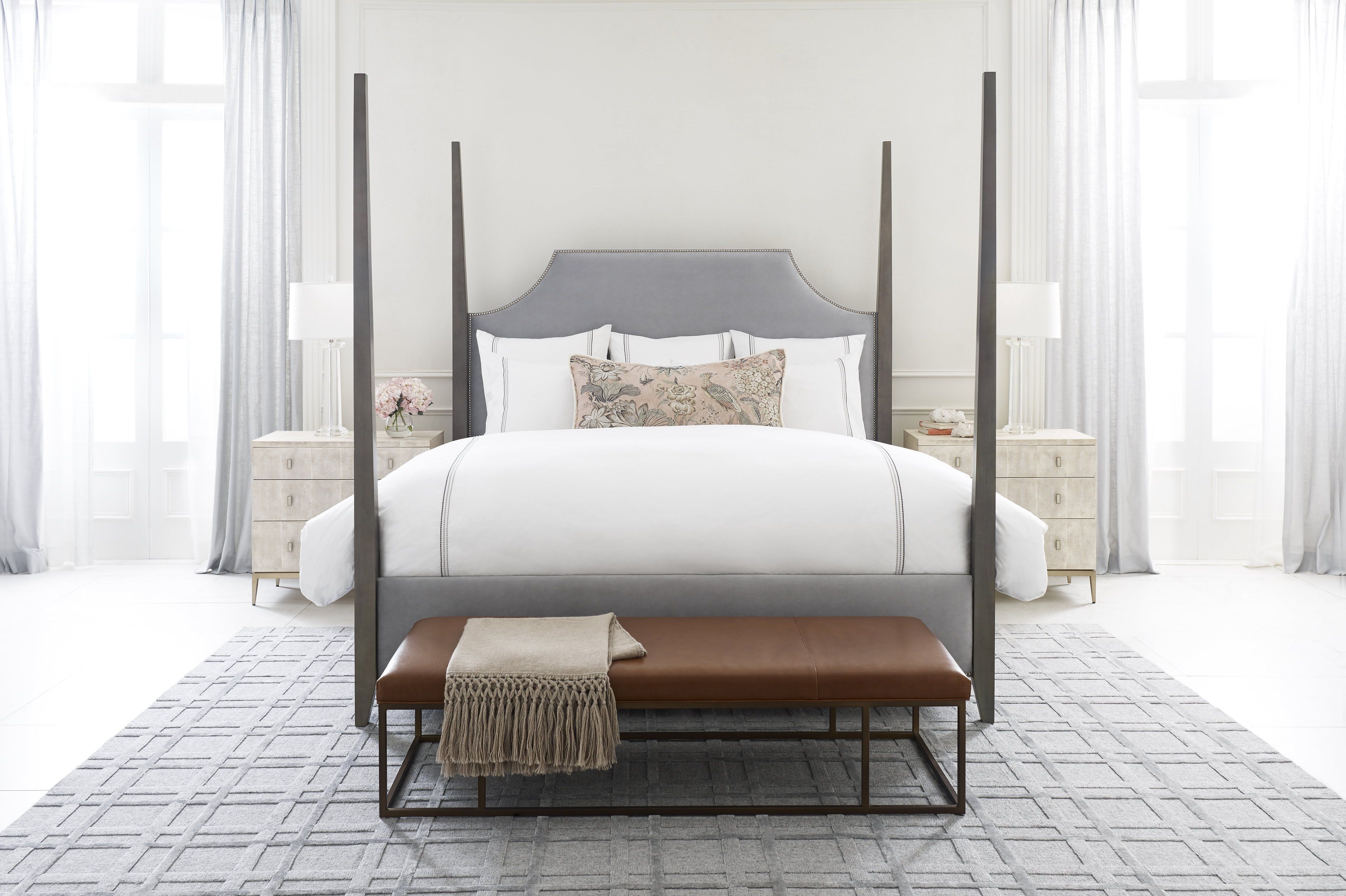 Mg Bw Create A Grand Setting In The Bedroom With A New Traditional Style Upholstered Bed Classic Four Poster Bed Frame With Tall Silver Bedding Bed King Beds