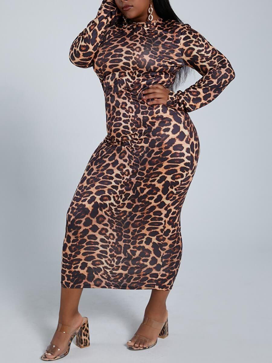 Lovely Casual O Neck Leopard Print Knee Length Plus Size Dresslw Fashion Online For Women Affordable Women S Clothing Lovelywholesale Plus Size Dress Knee Length Dresses Leopard Print Dress [ 1200 x 900 Pixel ]