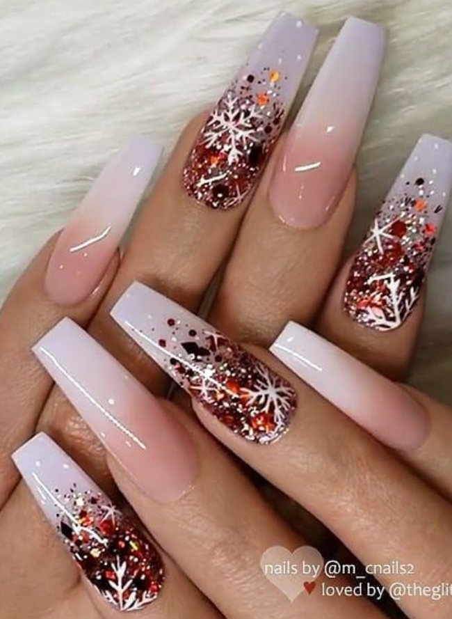 24 Beautiful Christmas Acrylic Coffin Nails Design Ideas To Warm Your Winter Coffin Nails Designs Coffin Nails Long Christmas Nails Acrylic