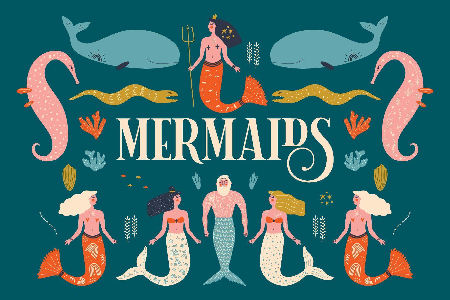 Boho Mermaids Bundle in 2020 Mermaid clipart, Clip art
