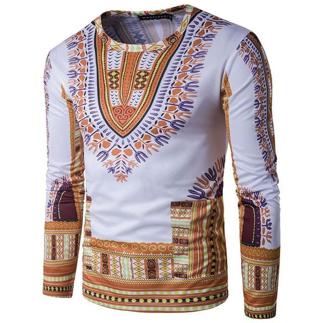 56bc549e3579e Africa l Printed Men Slim Fit Long Sleeve Dashiki Top Tees in 2019 ...